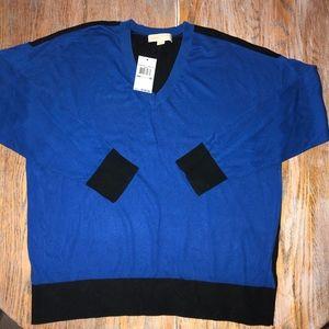 MICHAEL KORS blue/black V-neck sweater/NWT/1X